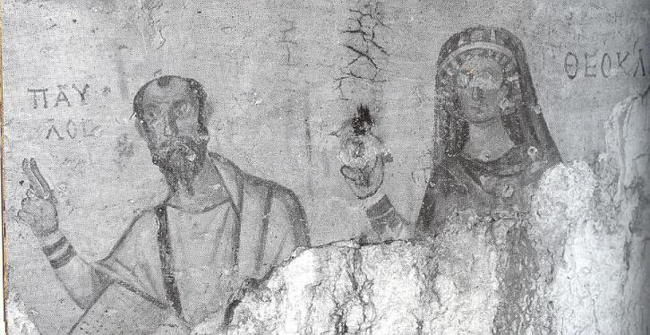 Ancient Christian Cave Grotto Above Ephesus Turkey On The Wall Are Byzantine Paintings Of Paul And St Thecla Dated To 500s AD