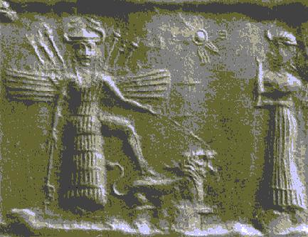 Inanna with wings, horns, and a crown, standing on a lion